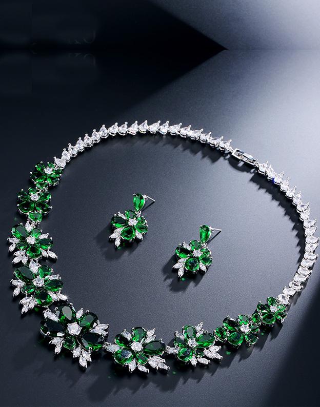 murdărie ieftine bine out x concept nou Set bijuterii cu zirconii Emerald Flowers