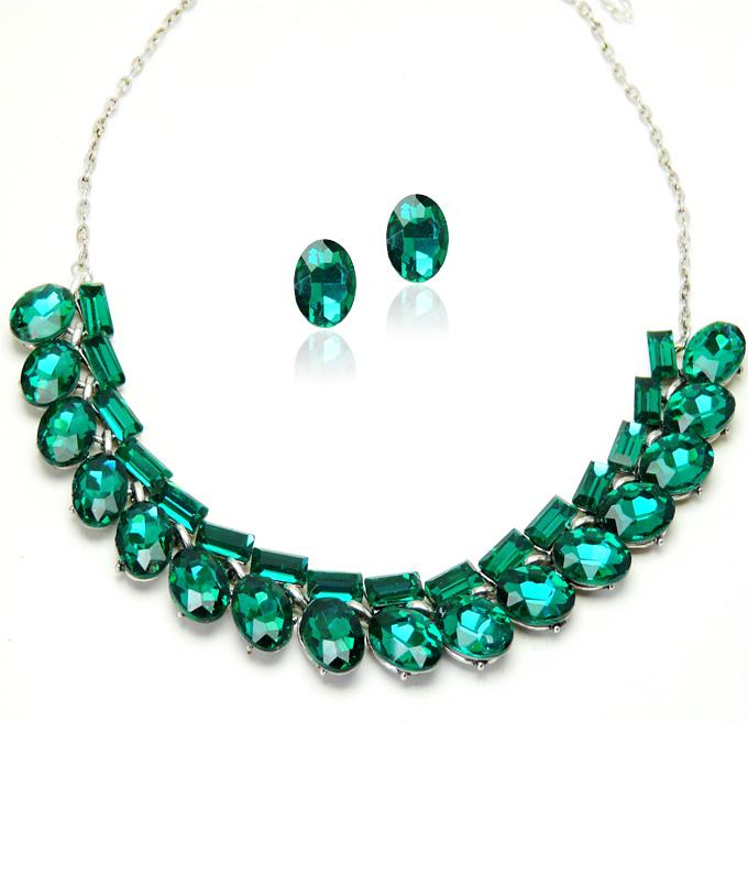 design de top marca faimoasa nou stil Set bijuterii nasa Simulated Smarald NA07