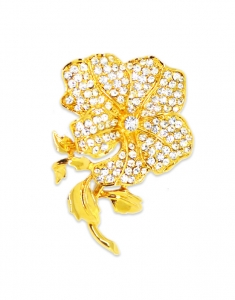 Brosa Swarovski Golden Rose
