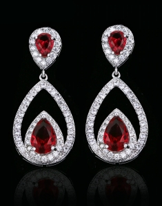 Cercei Red Zirconia Tear