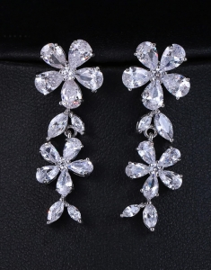 Cercei Double Flower cu Swarovski Elements