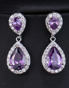 Cercei Swarovski Elements Purple Tear
