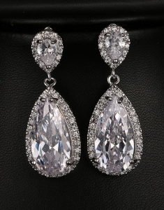 Cercei mireasa Luxury Long Drop cu Swarovski Elements